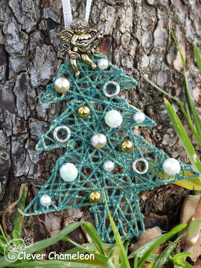 Learn how to make couched thread Christmas ornaments - star, tree, bauble. Tutorial by Clever Chameleon