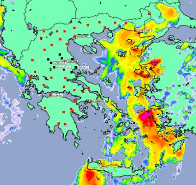1 - Μπόρες και καταιγίδες σε μεγάλο μέρος της χώρας και της Θεσσαλίας (+XAΡΤΕΣ ΥΕΤΟΥ)