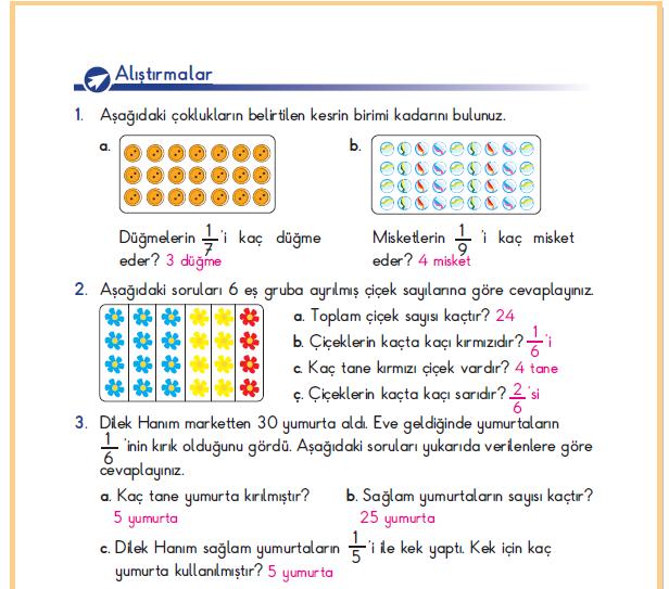 3. Sınıf Berkay Yayınları Matematik Ders Kitabı 185.Sayfa Cevapları Kesirler