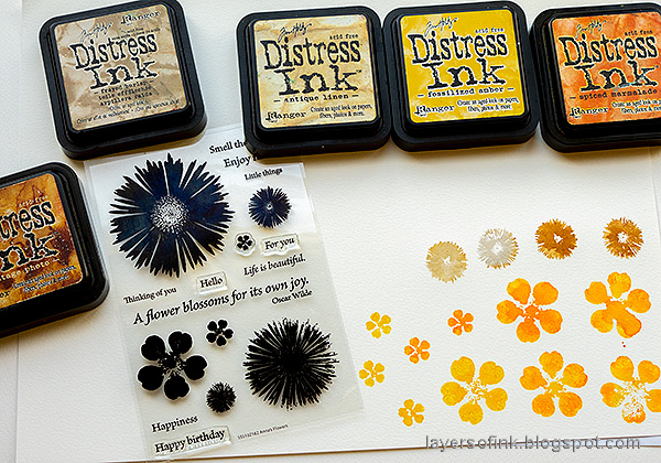 Layers of ink - Autumn Postbox Tutorial by Anna-Karin Evaldsson. Stamp flowers with SSS Anna's Flowers.