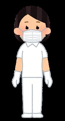 個人防護具のイラスト(白衣・マスク・女性)