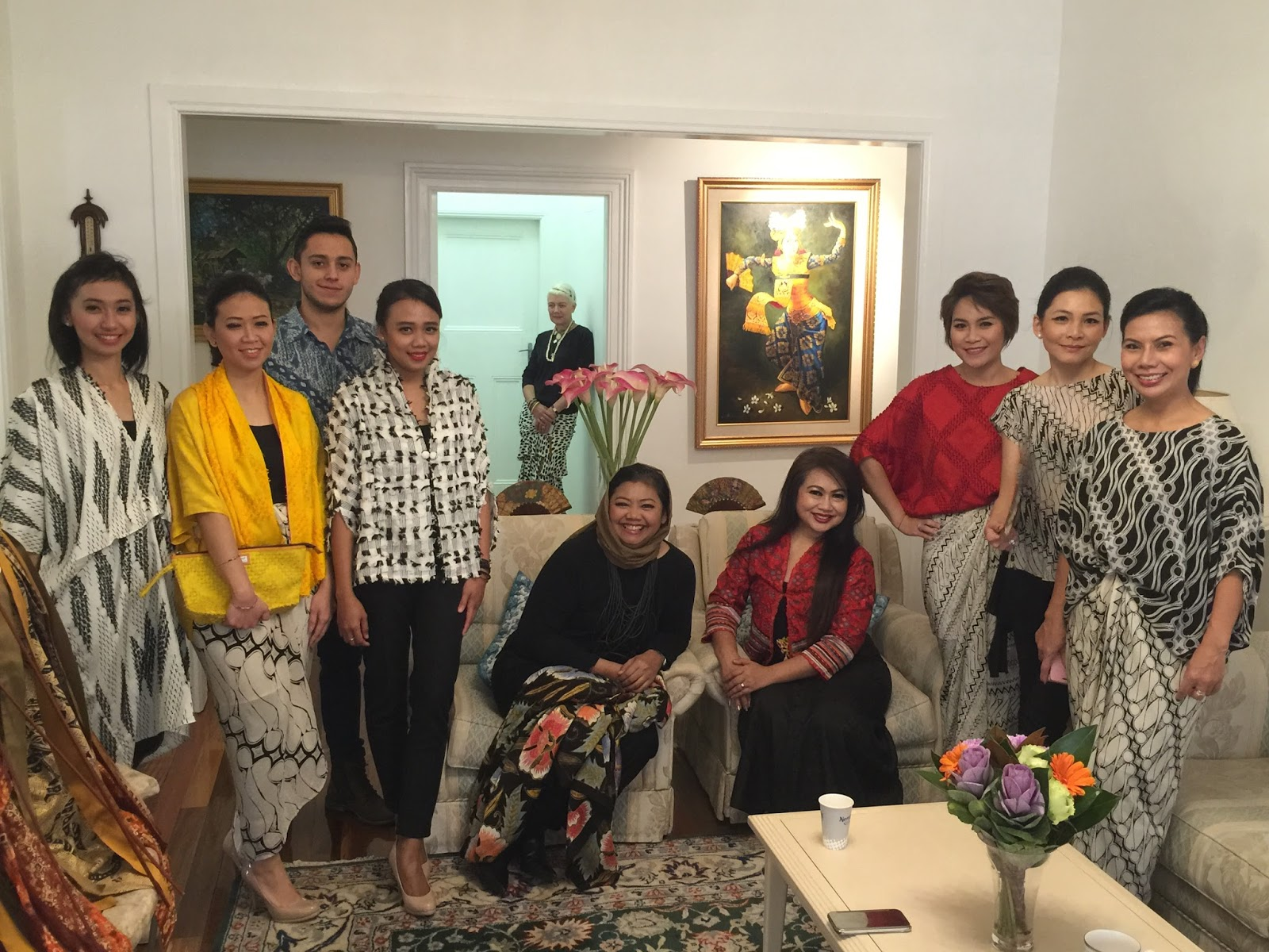 Mrs Novita Yunus Batik Chic designer with the models in her creations