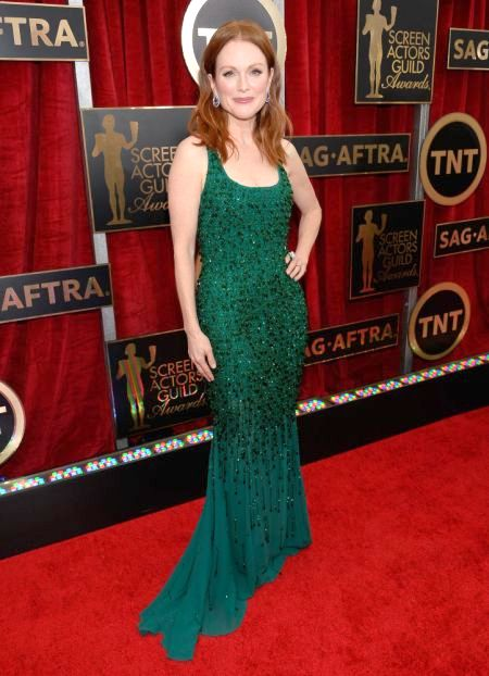 Julianne Moore in a green Givenchy dress the SAG Awards 2015
