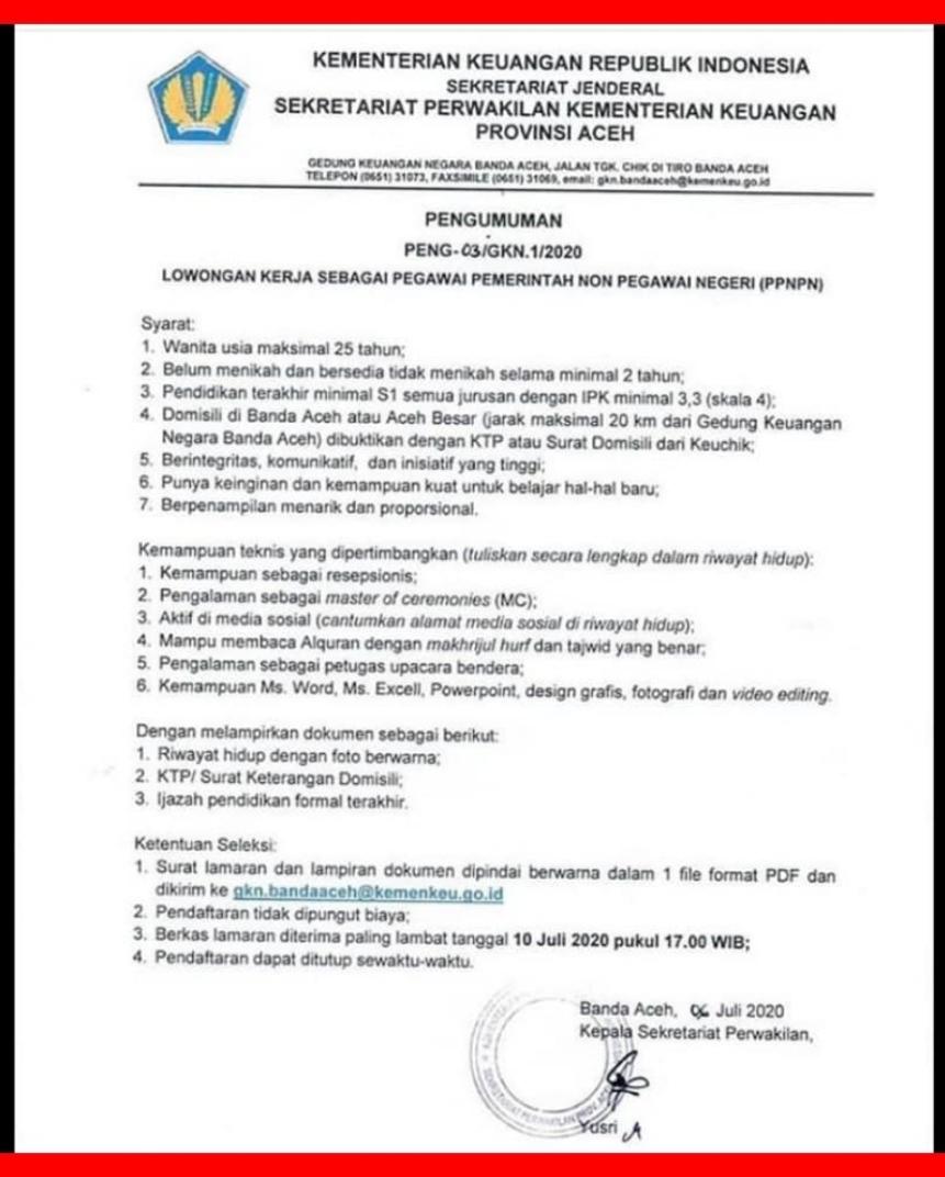 Lowongan Kerja S1 Di Kementerian Keuangan Ri Aceh Juli 2020