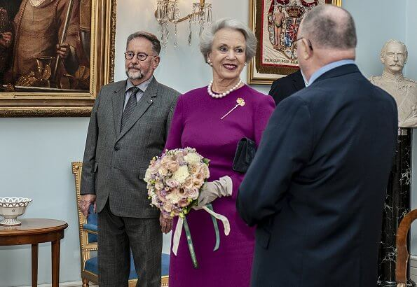 Danish Order of Freemasons. Princess Benedikte of Denmark wore a burgundy midi dressi and gold vintage crown trifari bough rhinestone brooch