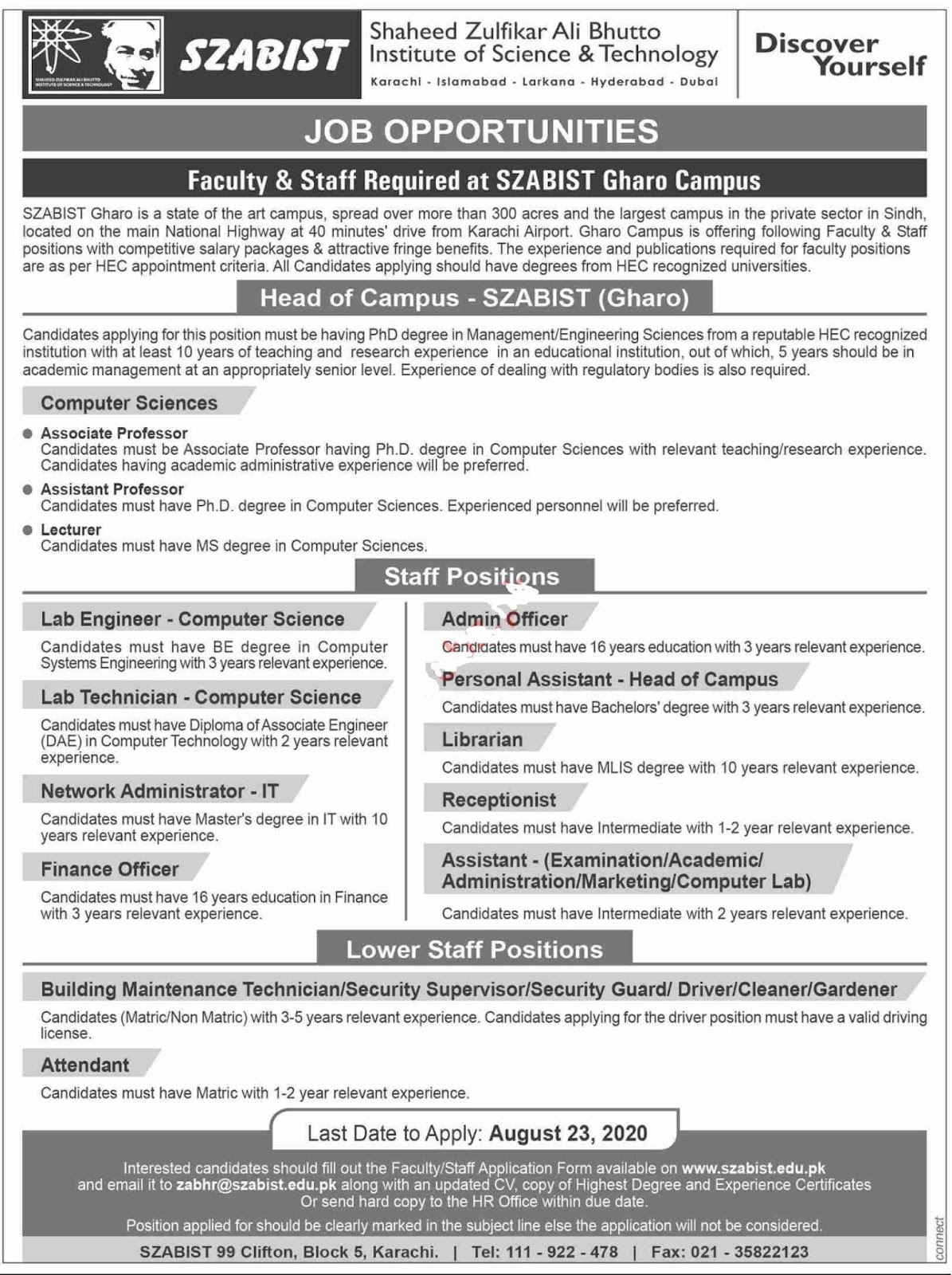SZABIST University Gharo Campus Jobs 2020 for Assistant, Assistant Examination, Assistant Academic, Assistant Administration, Assistant Computer Lab and more