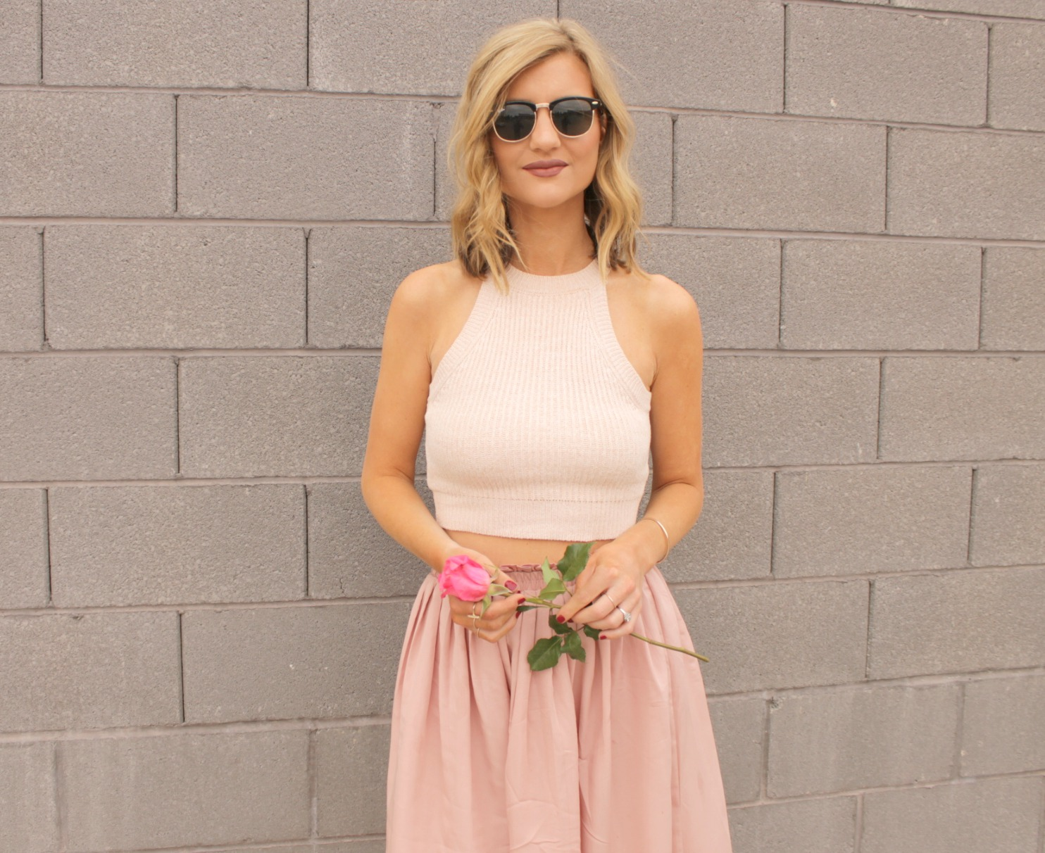 Pastel Pink (midi skirt with crop top) - The Nomis Niche