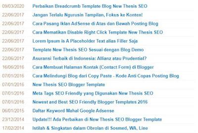 Cara Membuat Sitemap Daftar Isi di Halaman Statis Blog