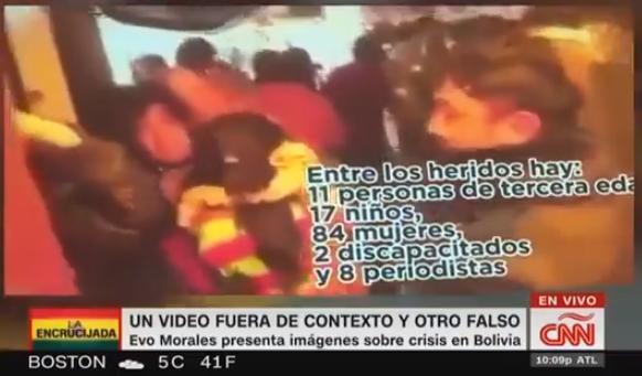 El expresidente mostró imágenes de una represión policial de México de 2003 como si fuera de Bolivia / CAPTURA CNN