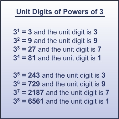 unit digit in product of 3