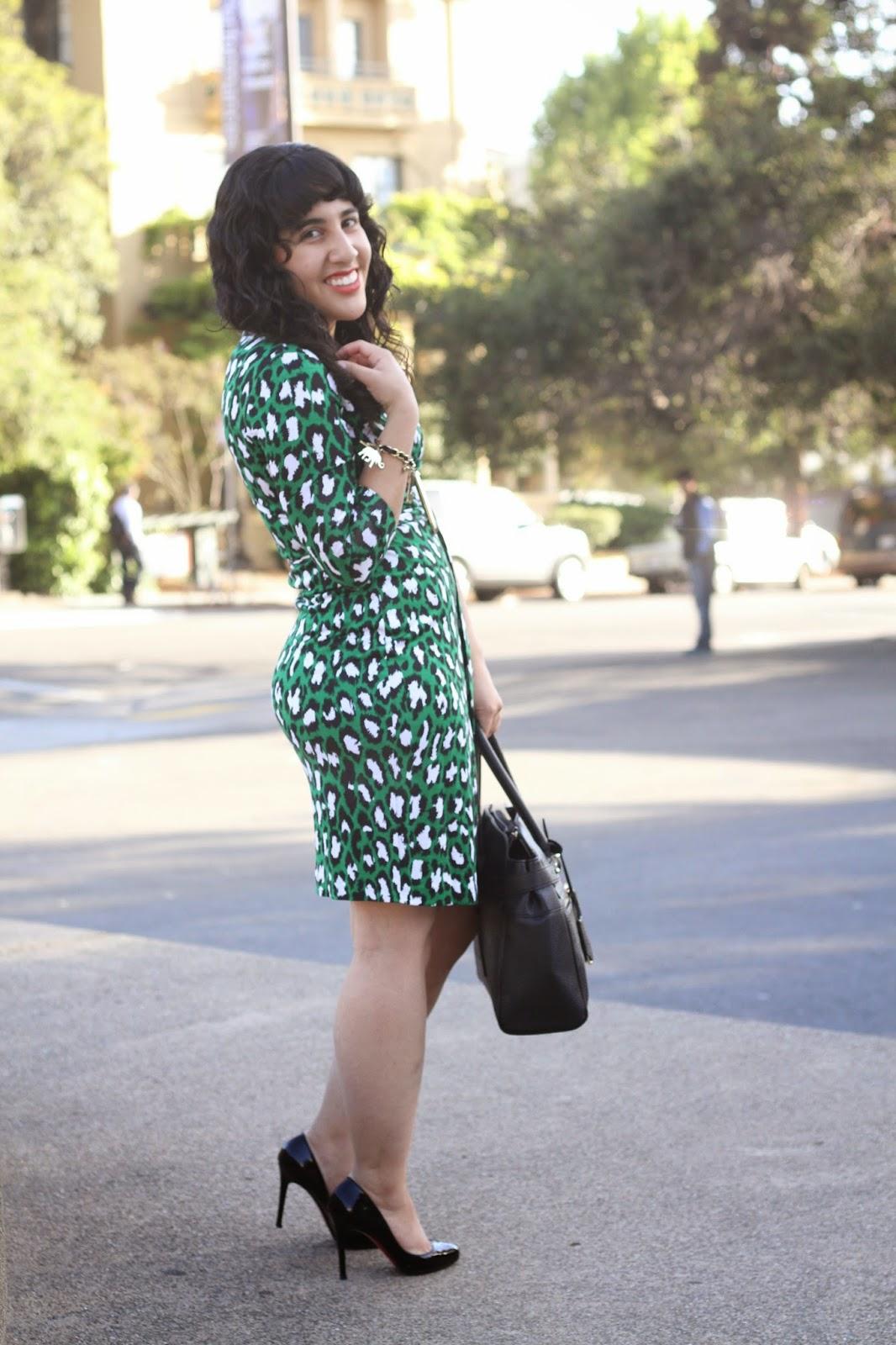 Green Leopard Wrap Dress