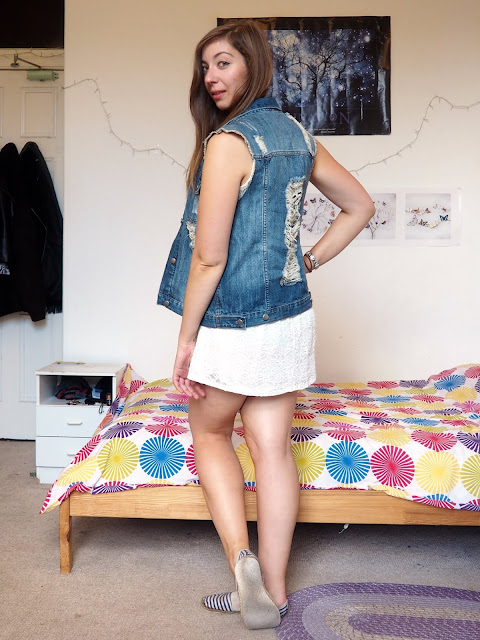 Last Days of Summer - outfit of white lace dress, ripped blue denim waistcoat & blue and white striped shoes