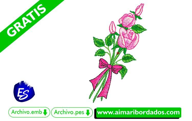 ramo de Rosas con lazo para bordar a máquina DESCARGA GRATIS