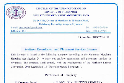 Sunny boy shipping supply all type of Myanmar Seafarers such as Engineers