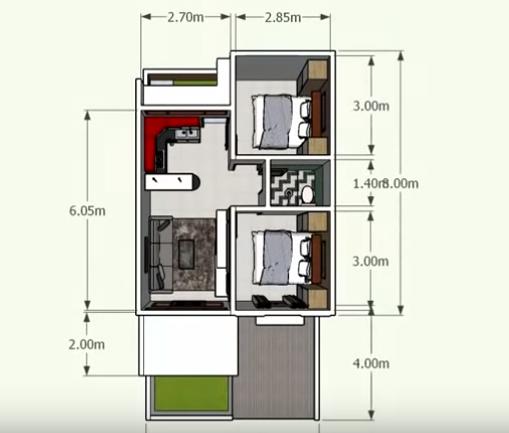 Desain dan Denah Rumah Type 36/72, 2 Kamar Tidur Dapur ...