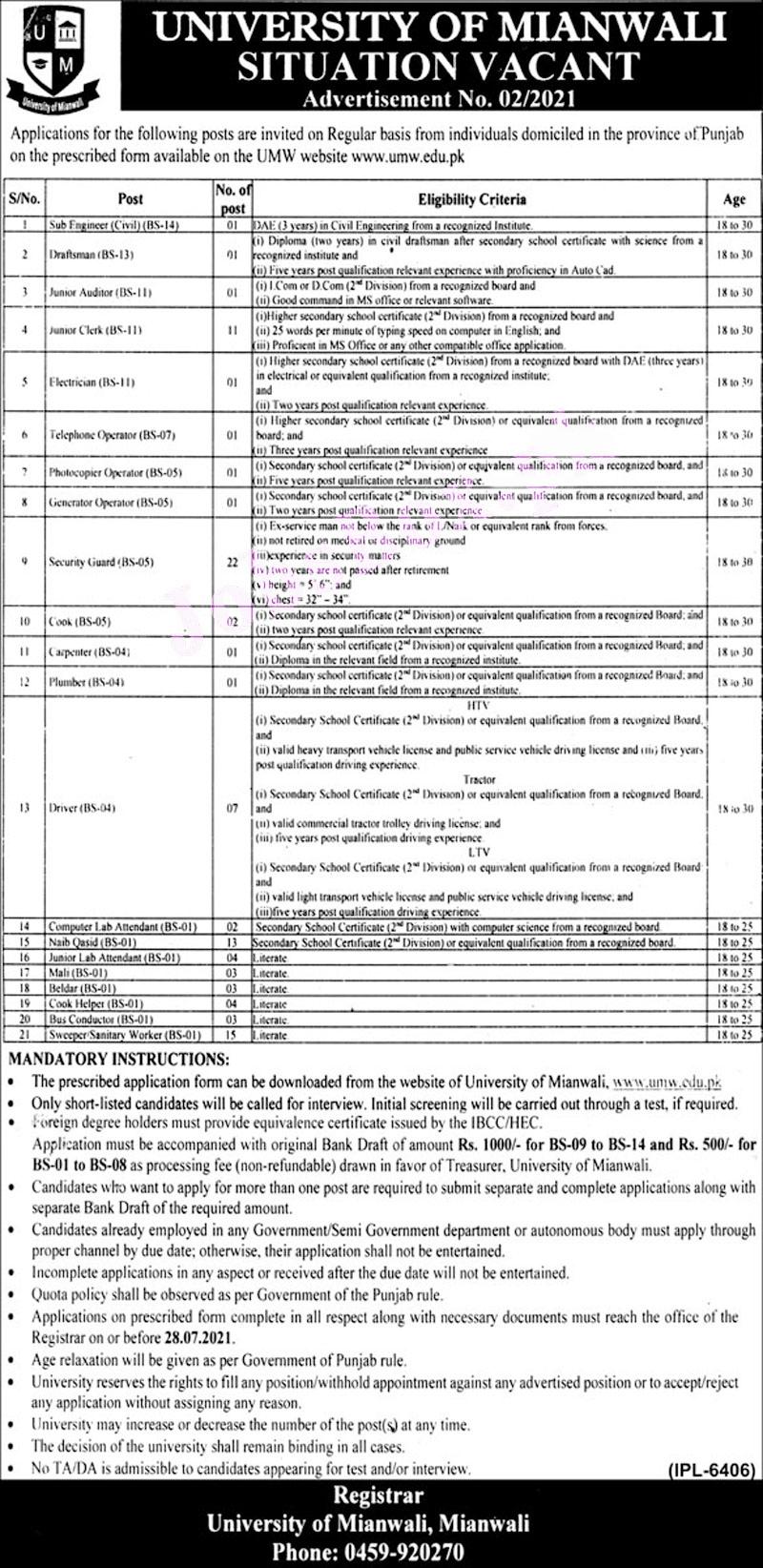 University of Mianwali Jobs 2021