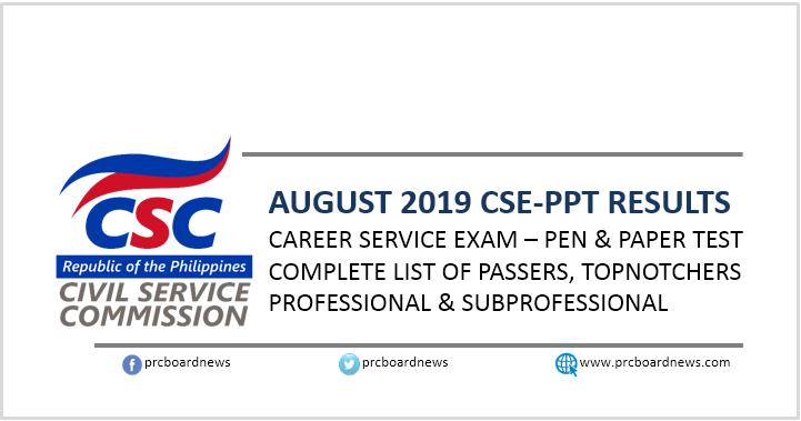RESULT: August 2019 Civil Service Exam CSE-PPT list of passers