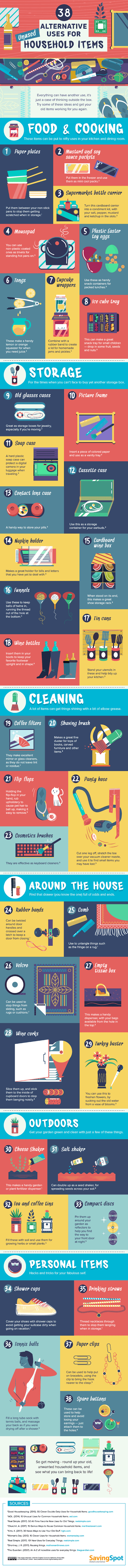 38 Alternative Uses for Unused Household Items #infographic