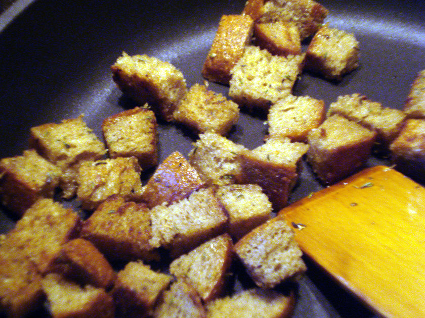 croutons sprinkled with feta cheese