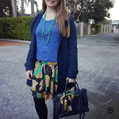 awayfromblue instagram green gold navy blue outfit winter colourful office wear accessorising bag