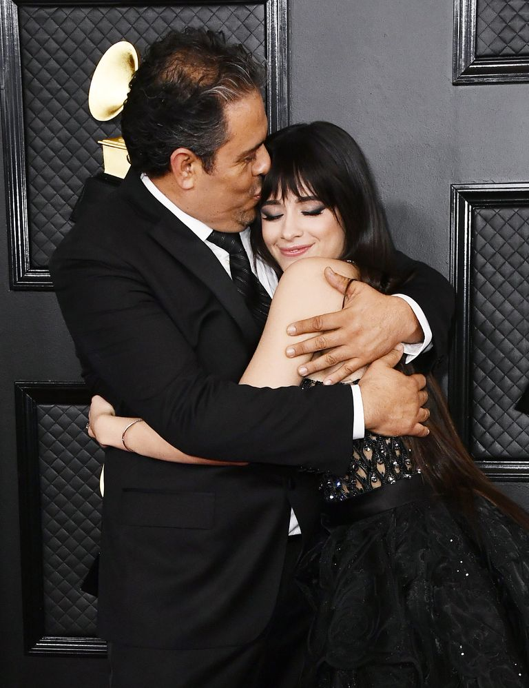 Camila Cabello dazzles in Versace and arrives at the 2020 Grammys with her father