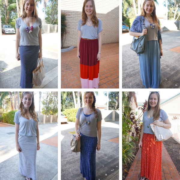 grey tees and maxi skirt 6 mum style outfit ideas | away from the blue