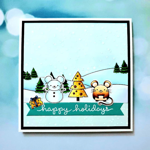 Sunny Studio Stamps: Merry Mice Customer Card by Ally Santaclara
