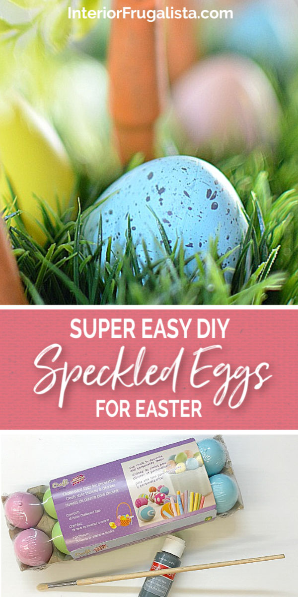 An upcycled Easter centerpiece box with faux wheatgrass, chair spindle carrots, and DIY speckled eggs for a fun budget Easter table decoration idea.#diyspeckledeggs #eastercraft #dollarstoreeggs #speckledeastereggs