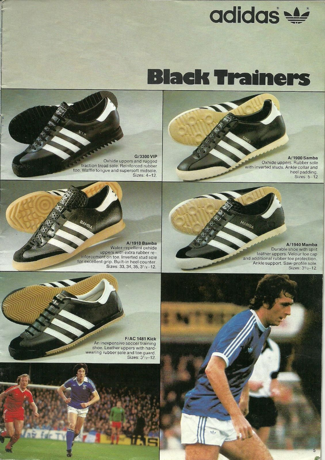 e4698e84c  Black Trainers  from the 1979 UK Umbro catalogue