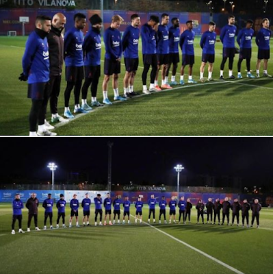 A #moment of #silence before training for #Sergi #Roberto's #mother who #passed #away. #CR7...