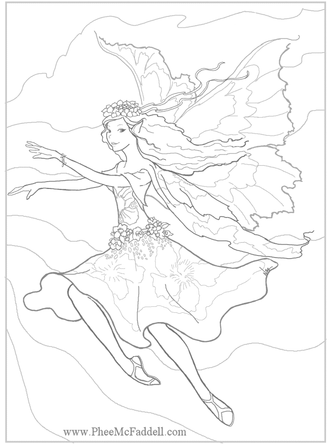 fantasy realistic fairy coloring pages - photo#17