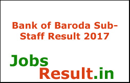 Bank of Baroda SubStaff Result 2017