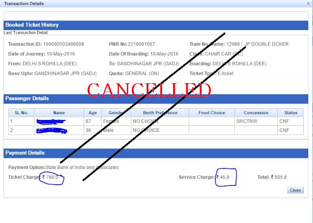 cancellation charges of IRCTC