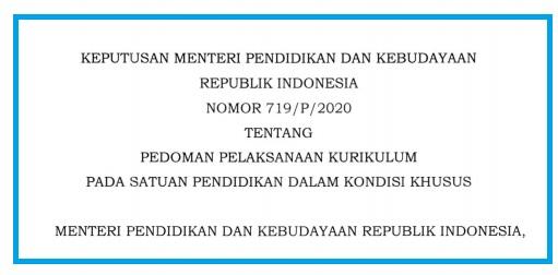 Kepmendikbud Nomor 719/P/2020 Tentang Pedoman Pelaksanaan Kurikulum Pada Satuan Pendidikan Dalam Kondisi Khusus