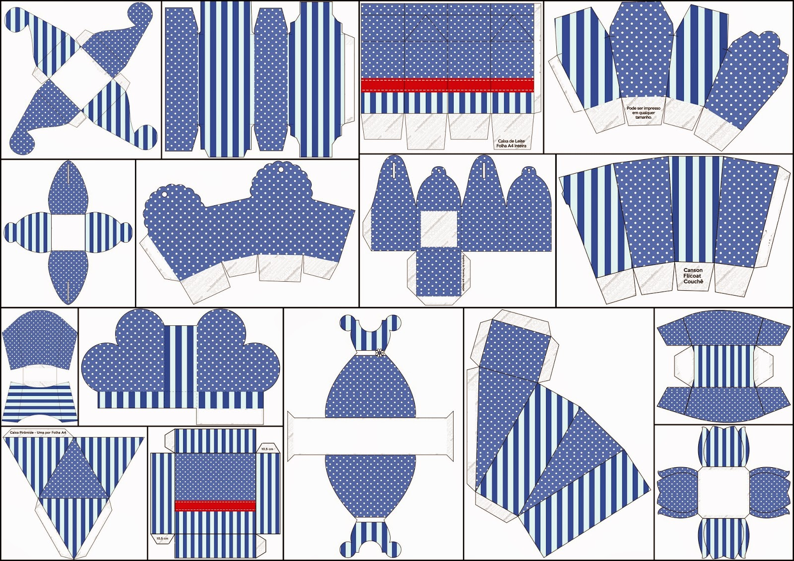 baby baptism photo ideas - Rayas Azules y Lunares Blancos Cajas para Imprimir Gratis