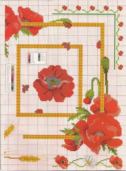 papaveri, fiordalisi e fiori estivi da Susanna, rivista per il punto croce