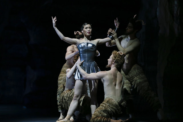The Australian Ballet's principal artist Ako Kondo as Sylvia with fauns attending, Jeff Busby photo credit