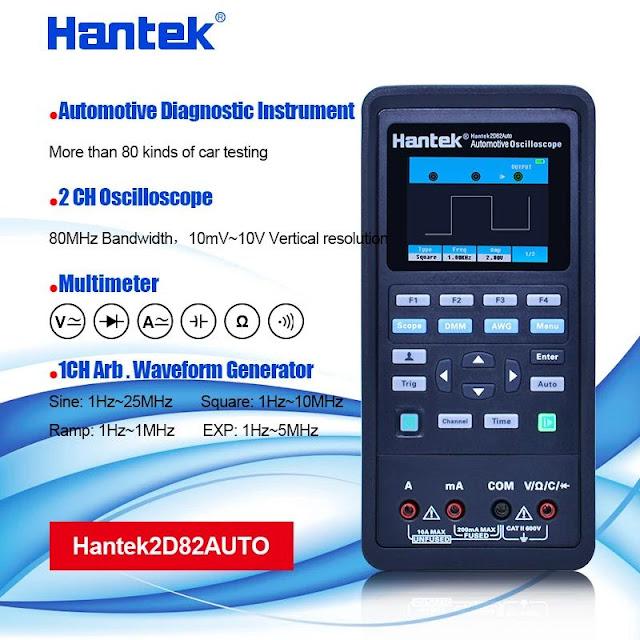 Hantek 2D82 AUTO Digital Oscilloscope Multimeter 4 in1 2 Channels 80MHz Signal Source Automotive Diagnostic 250MSa/s