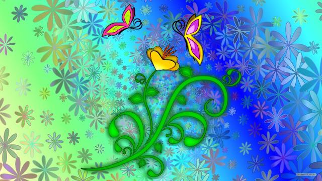 Lente wallpaper met bloemen en vlinders