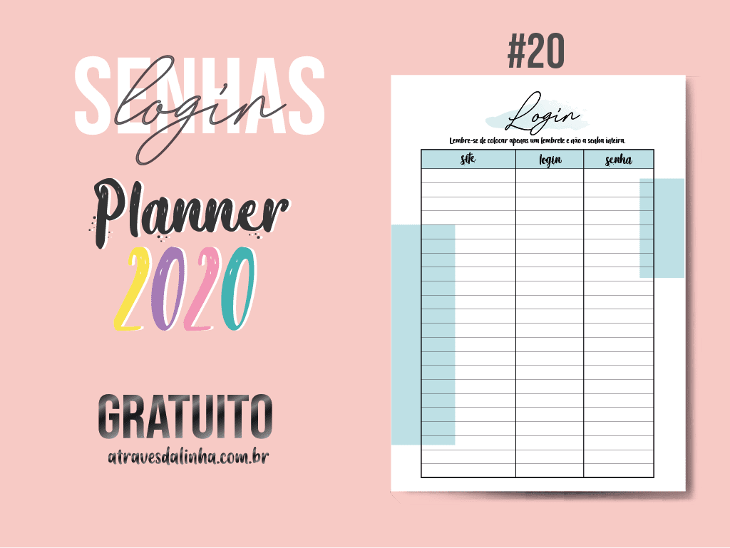 PLANNER 2020 #20: senhas e login gratuito para download