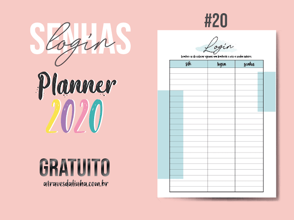 PLANNER 2020 #20: senhas e login gratuito para download