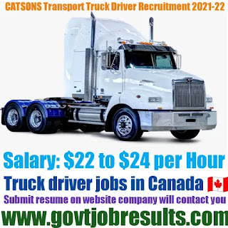 CATSONS Transport CDLA Truck Driver Recruitment 2021-22