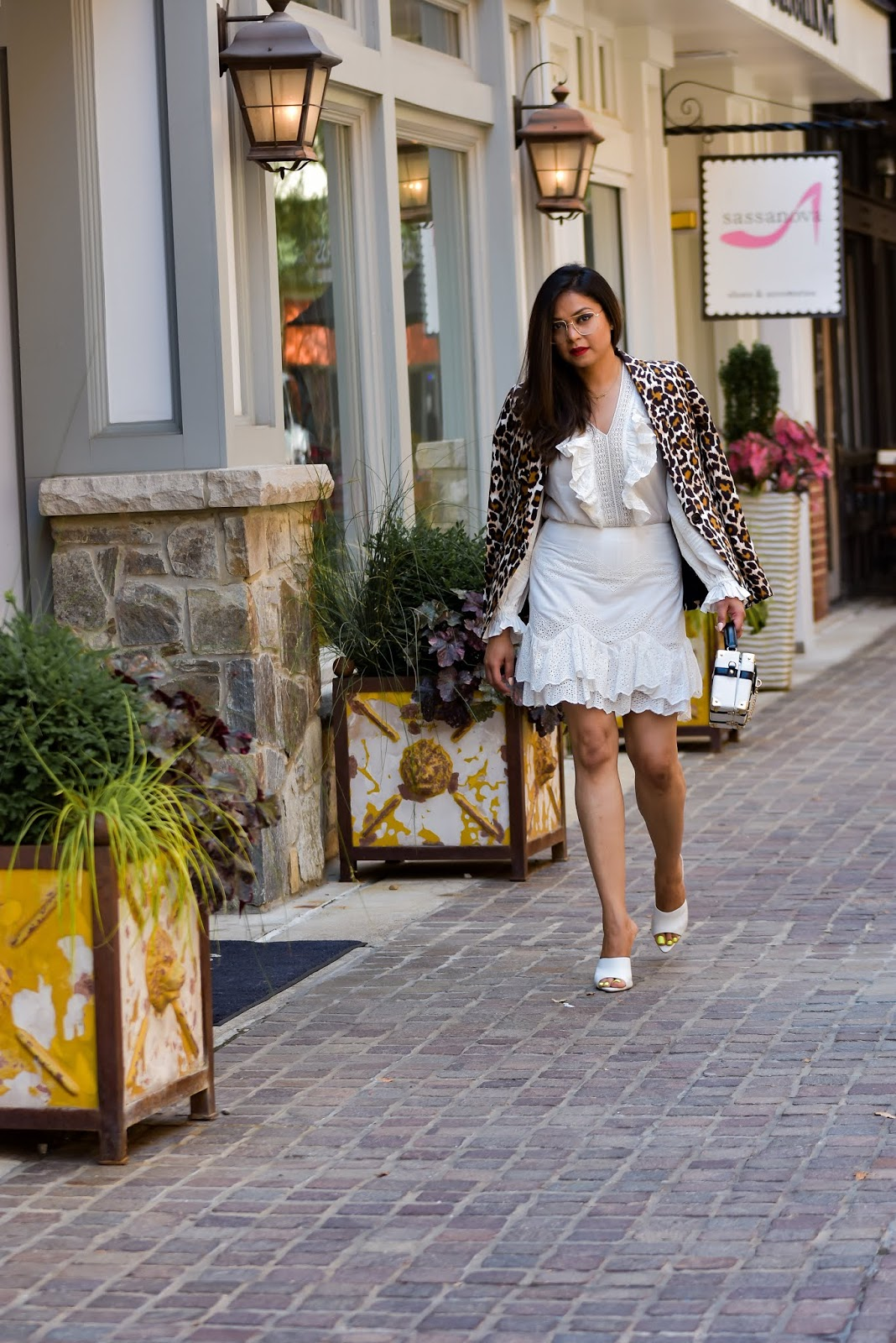white summer dress, leopard print blazer, white aldo mules, white heels for summer, golden glasses, summer outfit, white, street style, long hair dont care, myriad musings, saumya shiohare