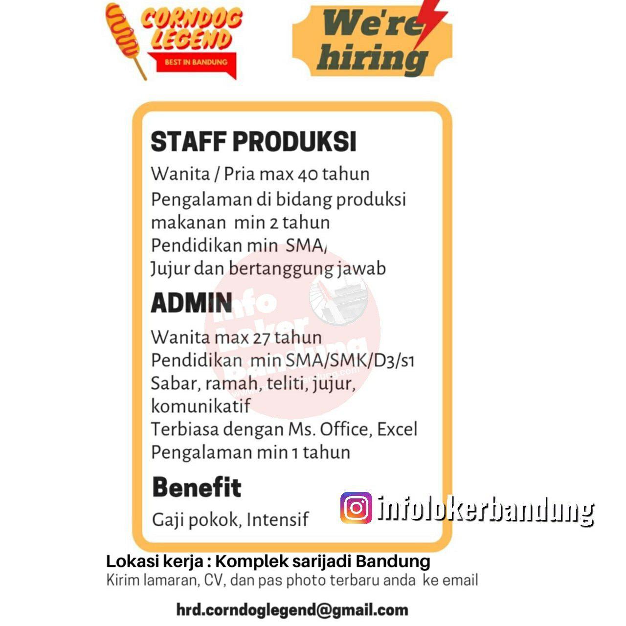 Lowongan Kerja Corndog Legend Bandung November 2019
