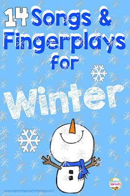 14 Winter songs and fingerplays which are terrific preschool speech therapy activities to boost speech and language skills. Visuals like this build a snowman activity are perfect accompany the rhymes.  #speechsprouts #preschool #kindergarten #speechandlanguage #winter