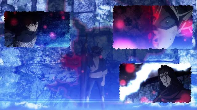 Jika pada episode 01 di akhir cerita, Yuno terikat rantai sihir milik pria misterius yang berusaha mengambil grimoire miliknya. Sedangkan Asta di serang pria misterius tadi habis-habisan meskipun dirinya tidak memiliki sihir. Saat keadaan tertekan itu, tiba-tiba muncul sebuah buku grimoire di hadapan Asta. Lebih mengejutkan lagi bahwa grimoire tersebut merupakan grimoire clover berdaun 5.