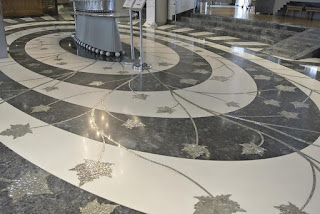 leaf mosaics and marble