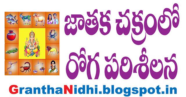 జాతకచక్రంలో రోగ పరిశీలన, Diagnosis in the horoscope, jatakam jyotisam