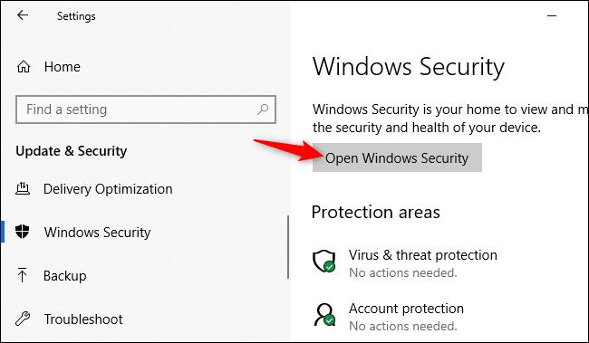 فتح تطبيق أمان Windows من إعدادات Windows 10.