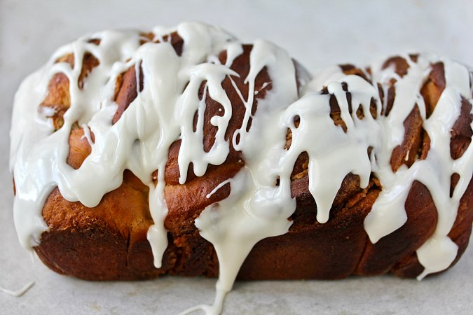 Peanut Butter Babka drizzled with a vanilla glaze